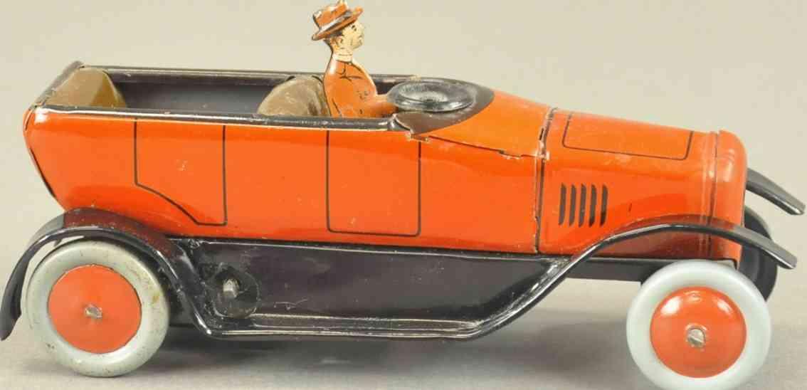 bing blech spielzeug auto offenes cabrio fahrer rot uhrwerk