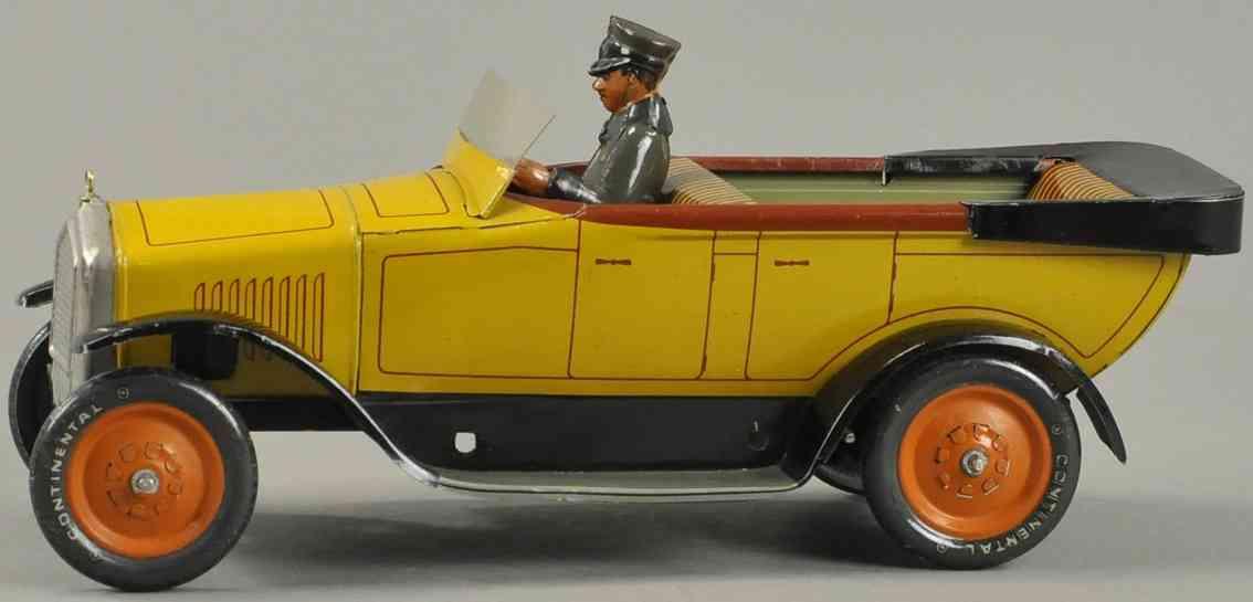 bing blech spielzeug auto cabrio gelb fahrer uhrwerk
