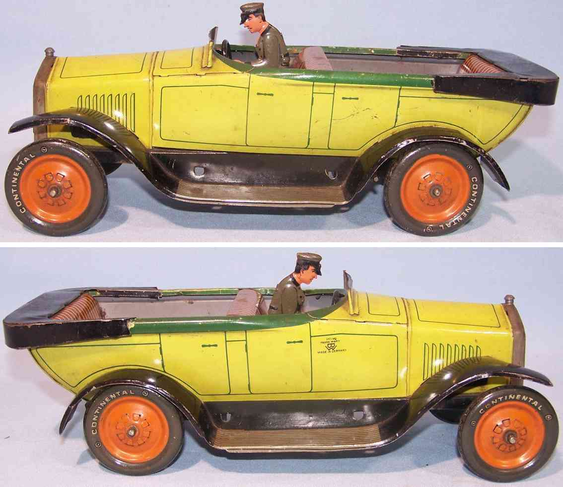 bing tin toy car cabriolet open limousine yellow