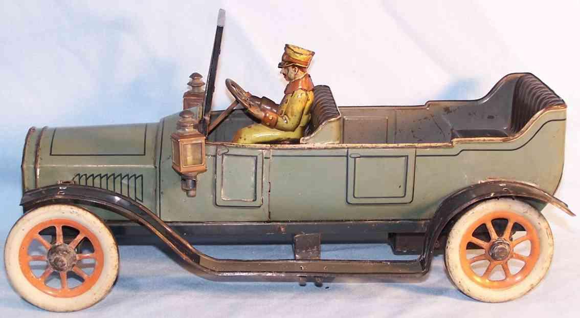 bing 10375/2 tin toy car cabriolet gray clockwork driver brake
