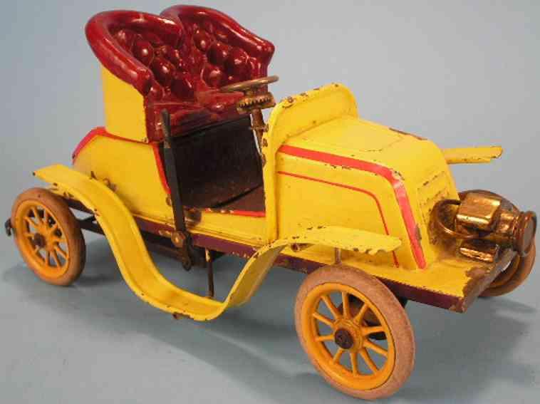 bing 13656 tin windup toy car de dion bouton roadster yellow