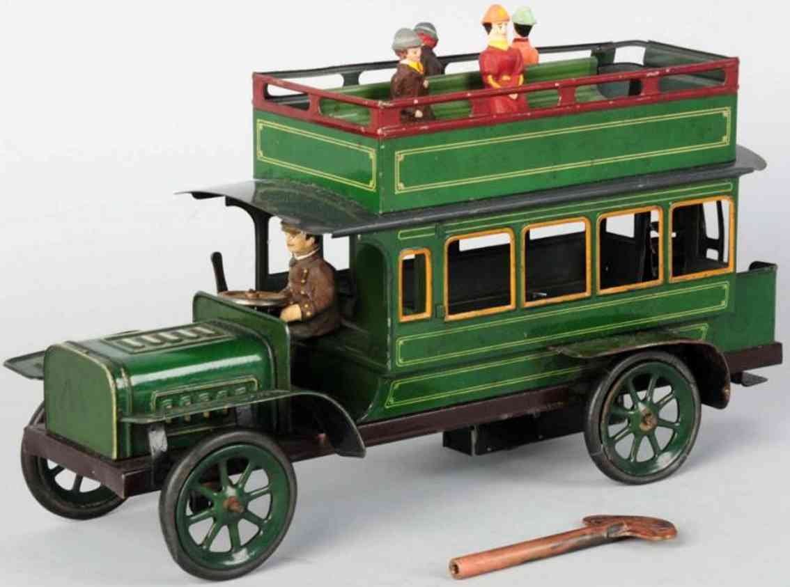 bing  tin toy double decker bus wind-up toy in green