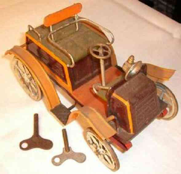 bing tin toy car with clockwork in brown and green