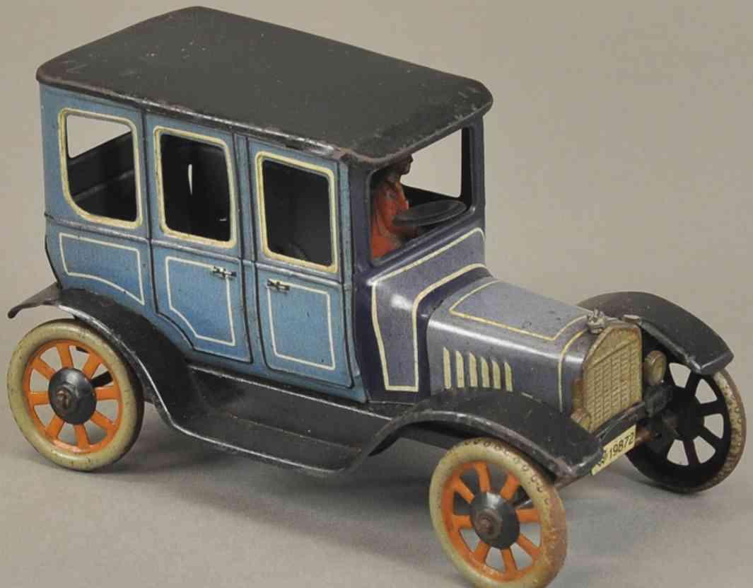 bing blech spielzeug auto limousine  blau schwarz 19872