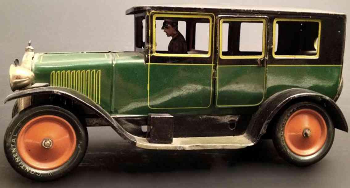 bing 10/4123/3 blech spielzeug auto elegante limousine gruen fahrer lampen ersatzrad