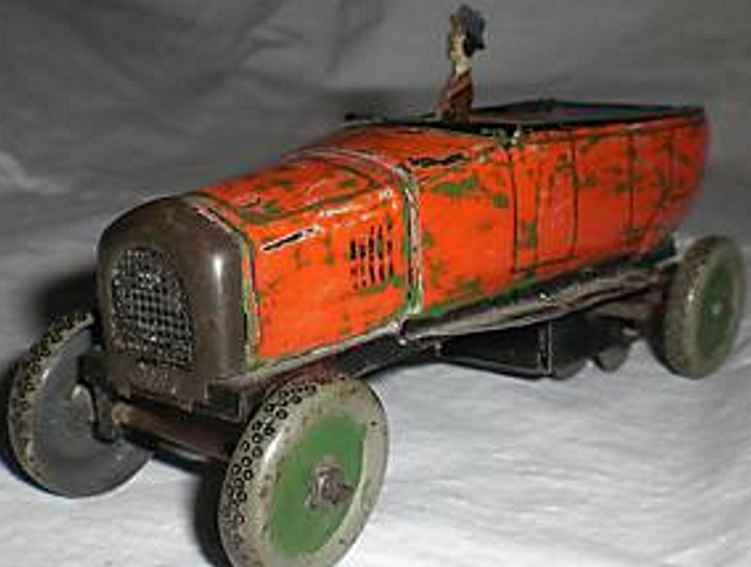 bing tin toy touring car driver spring moteor red