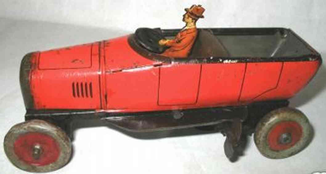 bing tin toy touring car clockwork driver