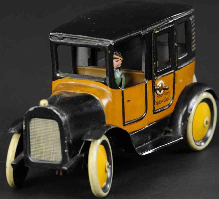 bing blech spielzeug auto amerikanisches taxi gelb schwarz