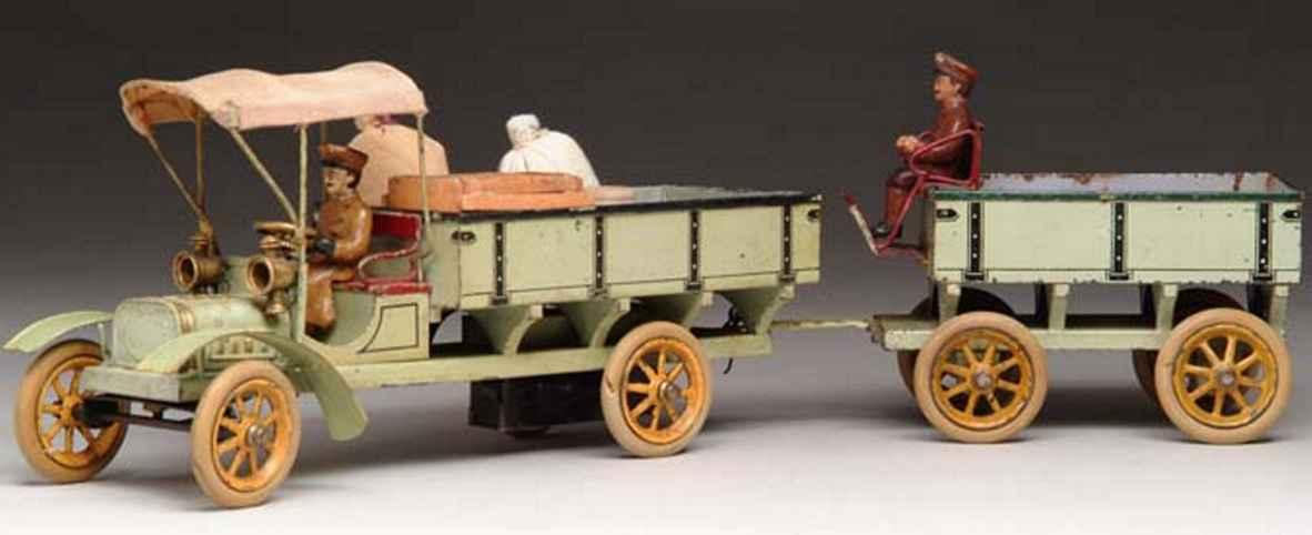 bing 10352/1 blech spielzeug lastwagen anhaenger fahrer gruen baldachin