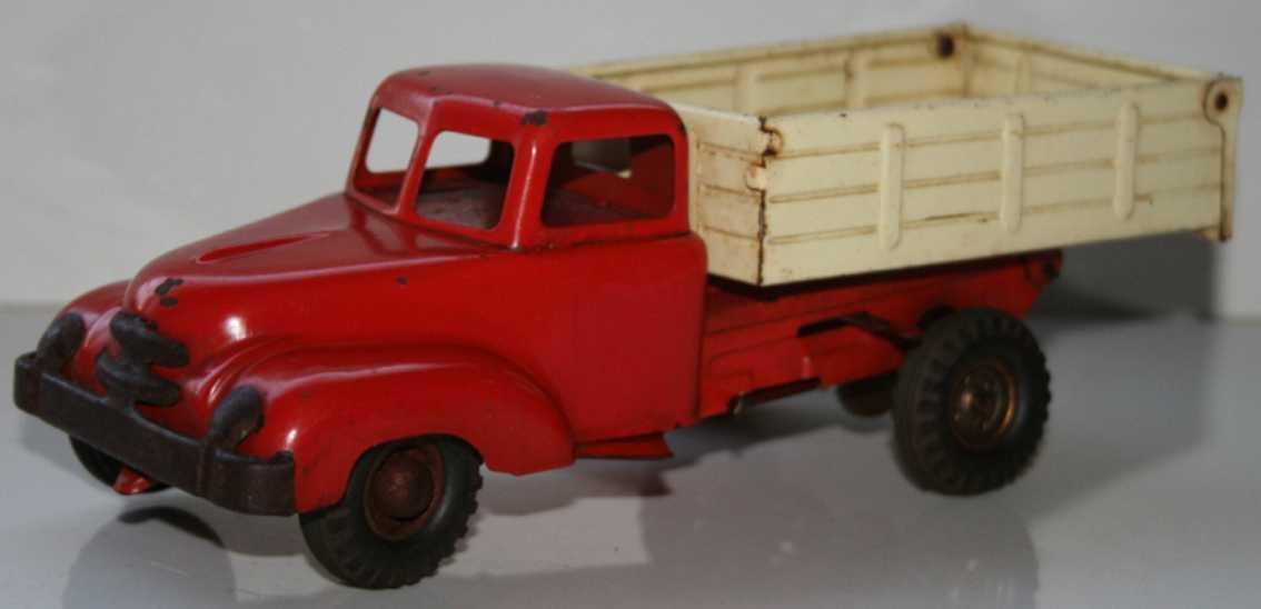 blomer & schuler blech spielzeug lastwagen in rot und weiß