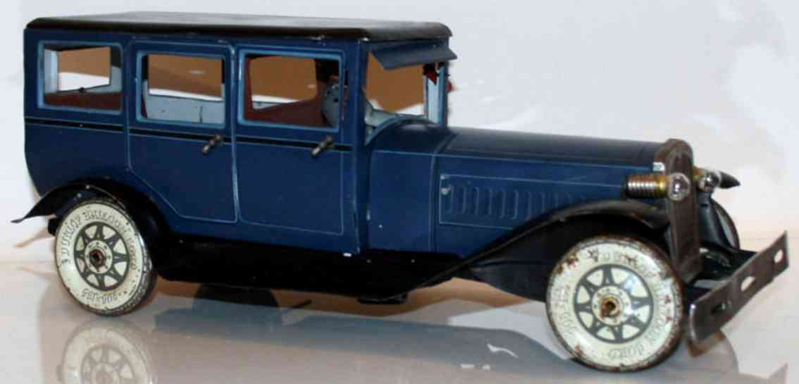 karl bub 1273 blech spielzeug auto reiselimousine blau uhrwerk fahrer winker