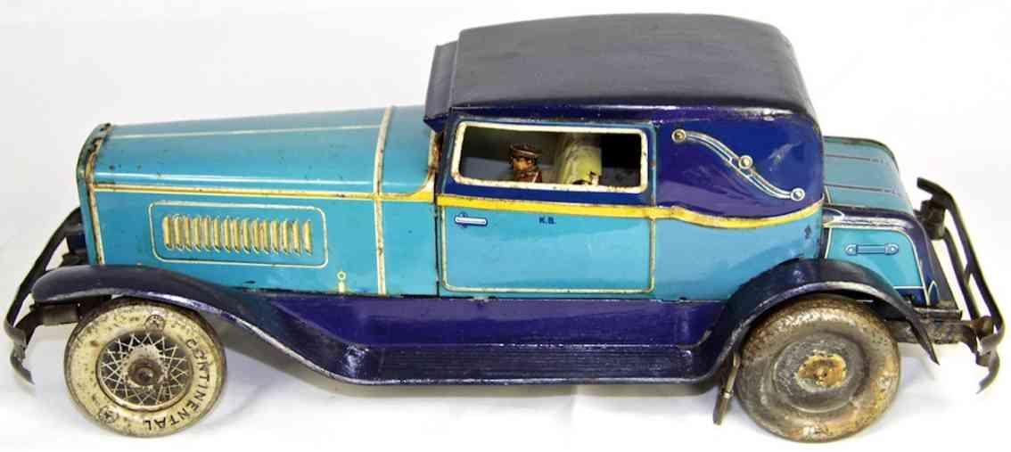 karl bub 1337 blech spielzeug auto limousine blau fahrer uhrwerk