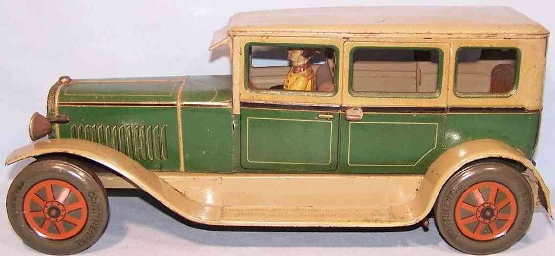 karl bub 1404 tin toy car travel limousine with driver in green beige wheels red
