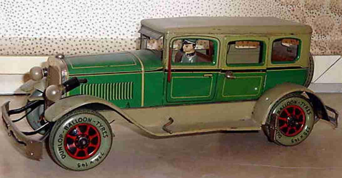 karl bub 788 tin toy car limousine greem beige clockwork driver