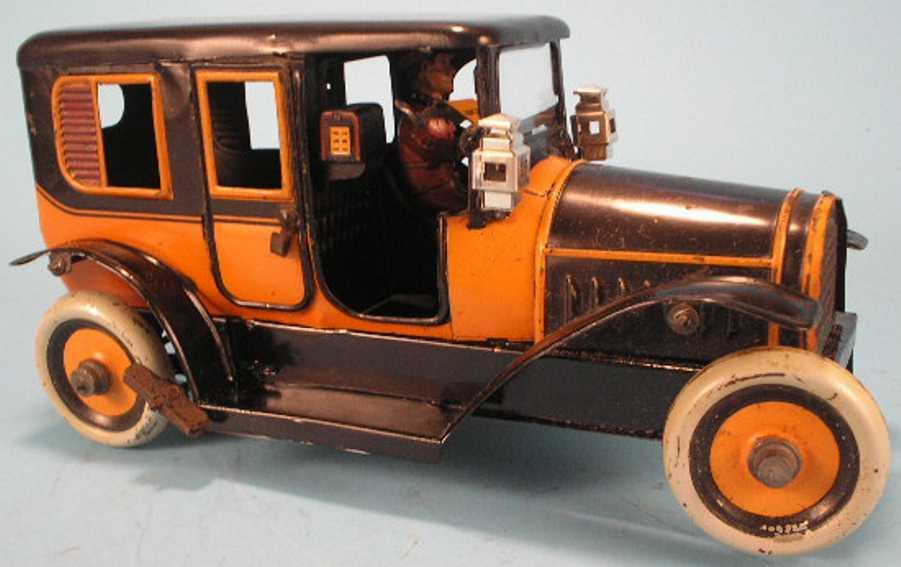 karl bub blech spielzeug auto uhrwerk orange braun