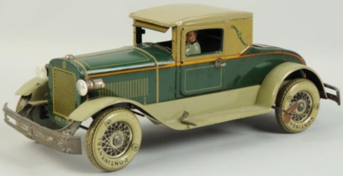karl bub tin toy car coupe with rumble seat electric motor