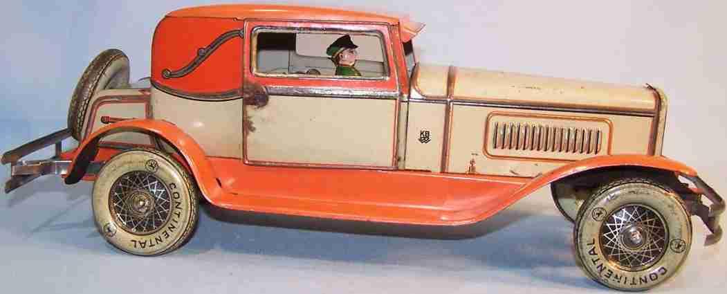 karl bub 781 tin toy car coupe orange beige clockwork driver