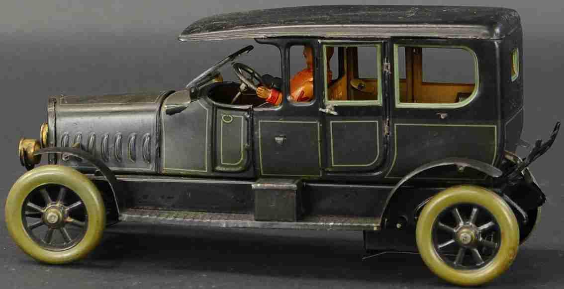 karl bub blech spielzeug auto limousine uhrwerk fahrer dunkelgruen schwarz