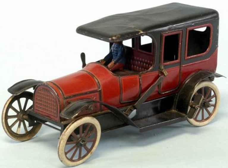 karl bub blech spielzeug auto limousine uhrwerk rot schwarz
