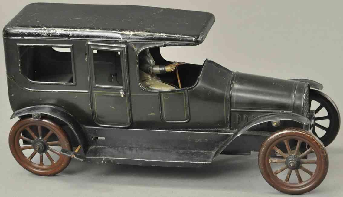 karl bub blech spielzeug auto limousine gruen schwarz uhrwerk