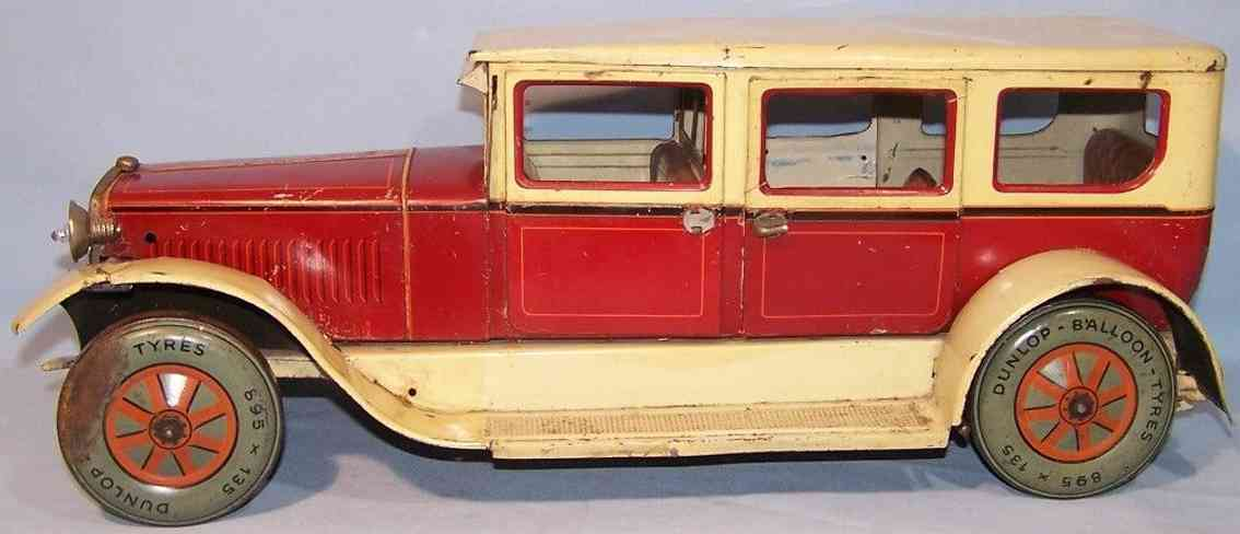 karl bub limousine tin toy car car complete deluxe version red yellow beige