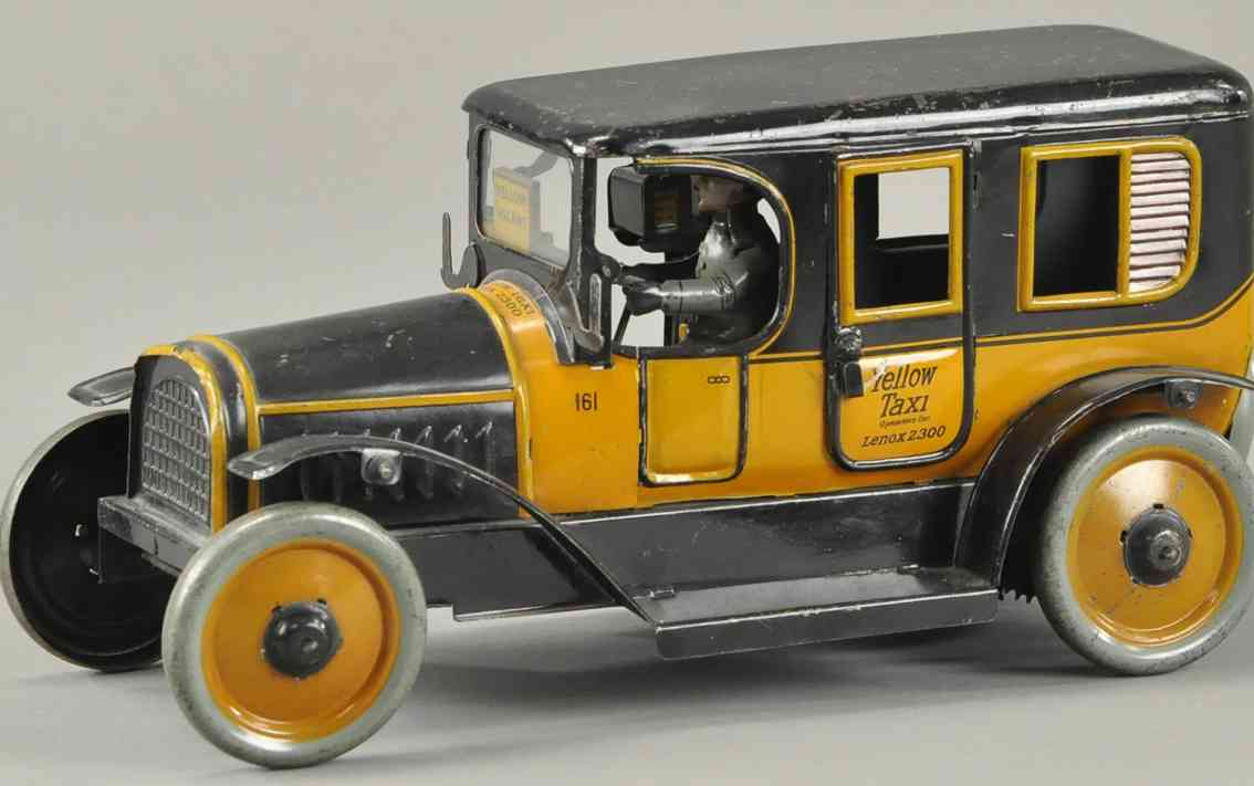karl bub blech spielzeug auto yellow taxi gelb schwarz fahrer uhrwerk