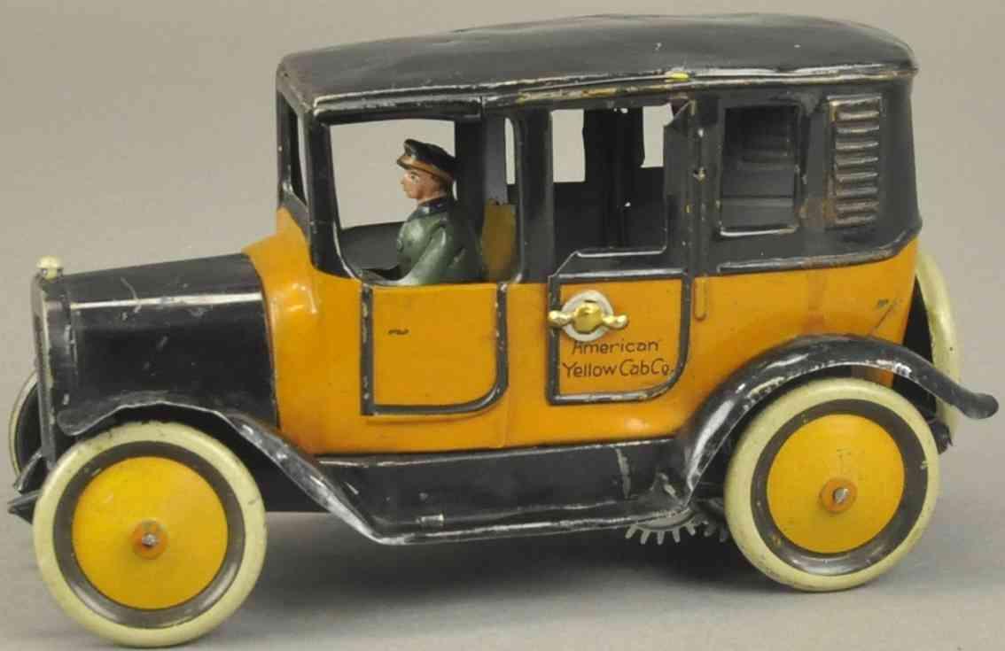 karl bub blech spielzeug auto taxi orange schwarz fahrer
