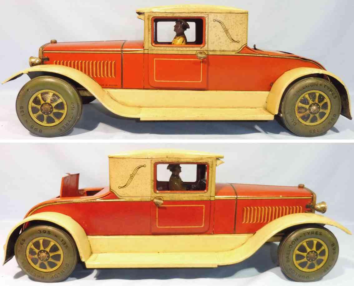 karl bub blech spielzeug auto coupe fahrer uhrwerk rot beige
