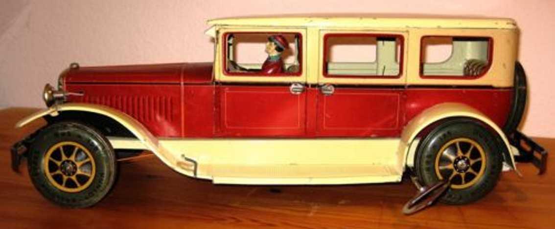 karl bub limousine blech spielzeug auto uhrwerk luxusversion rot gelb beige