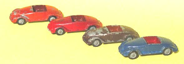 karl bub kb3 tin toy car cast cars small cabriolets in 4 color variants