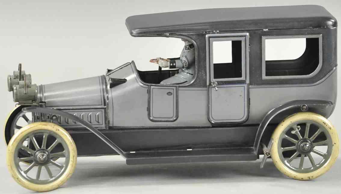 karl bub blech spielzeug auto limousine chauffeur uhrwerk grau