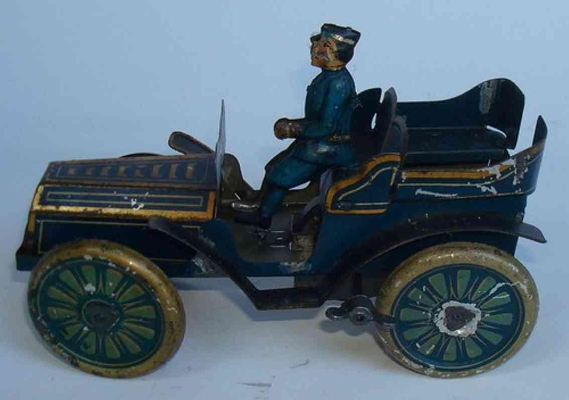 karl bub blech spielzeug auto offener tourenwagen uhrwerk blau