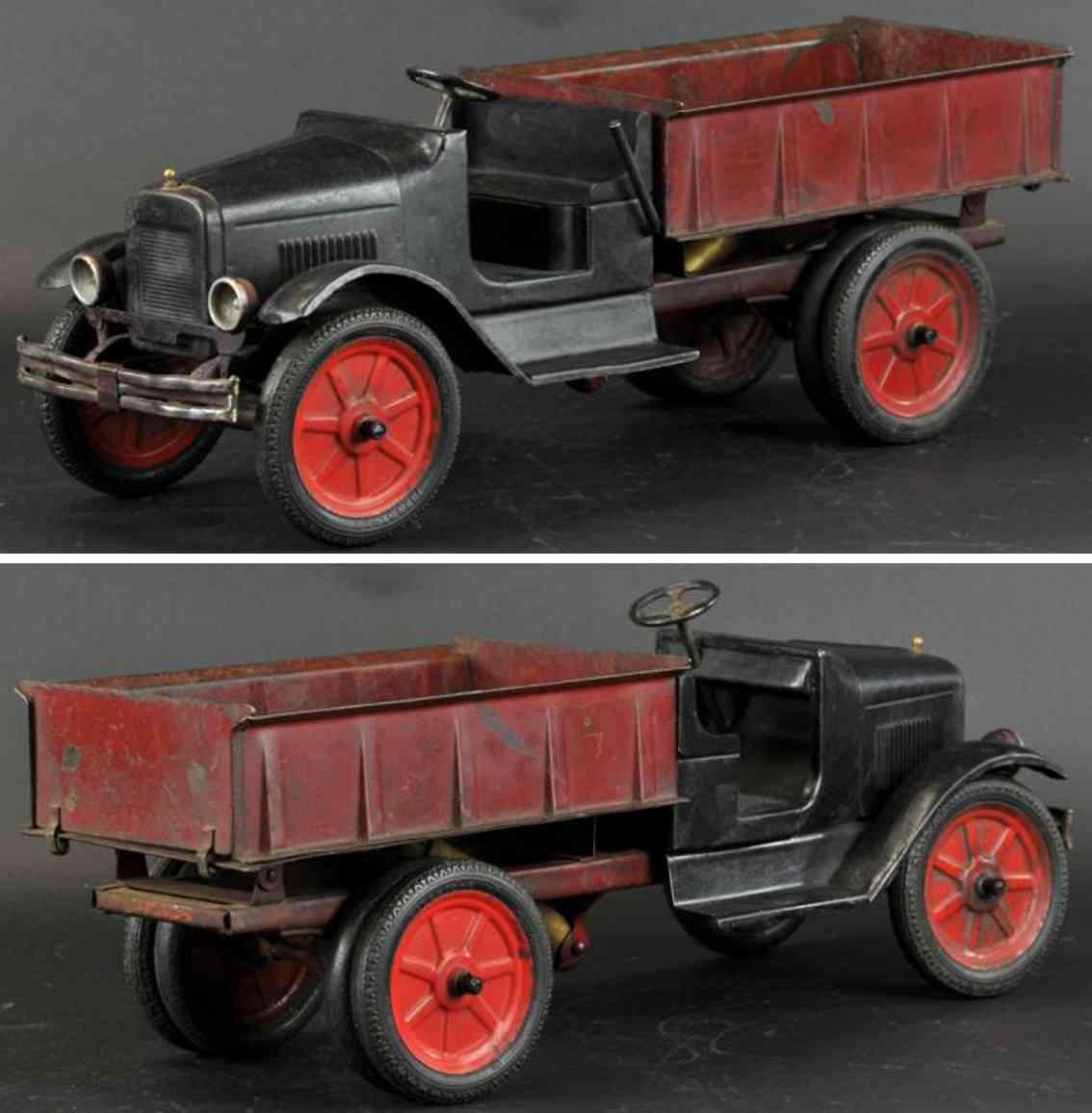 buddy l 201 a type II stahlblech hydraulischer kipplastwagen schwarz rot