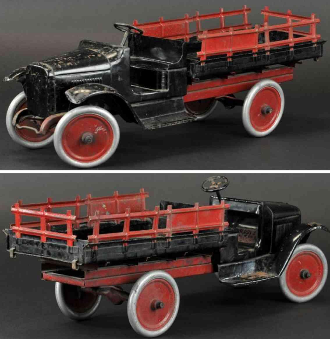 buddy l 202 blech rungenlastwagen schwarz rot