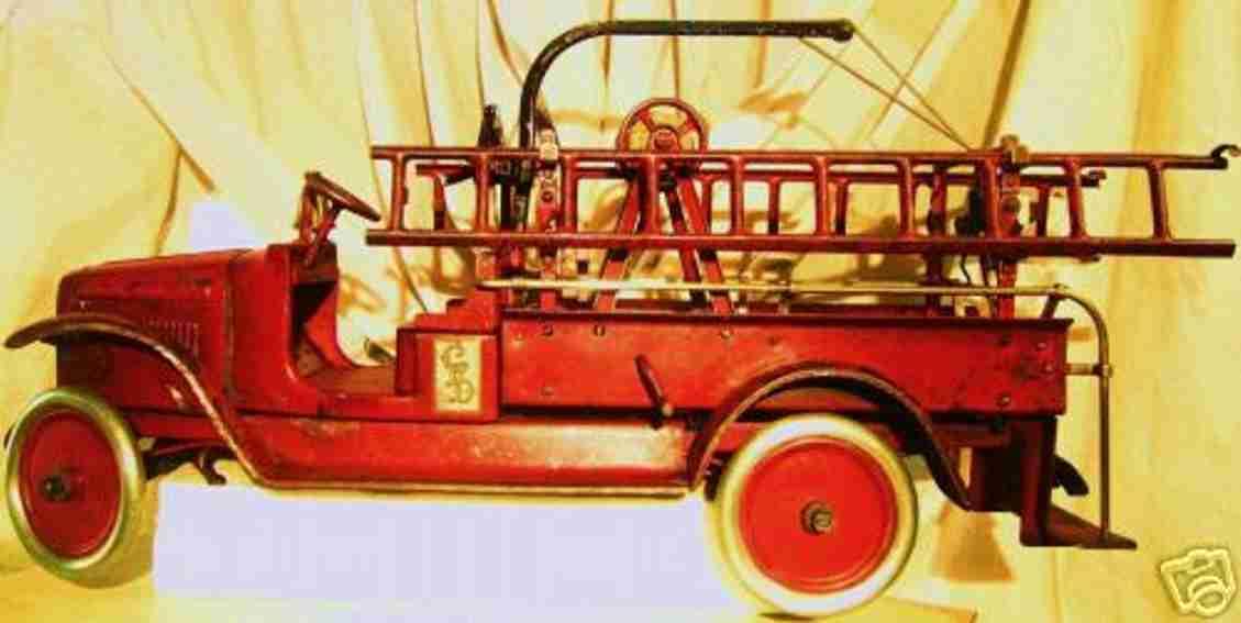 buddy l 203a stahlblech spielzeug feuerwehrleiterwagen rot