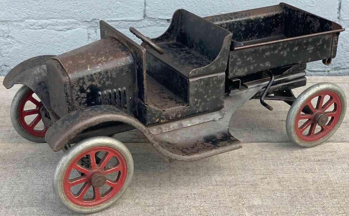 buddy l 211a tin toy ford dump truck pressed steel black