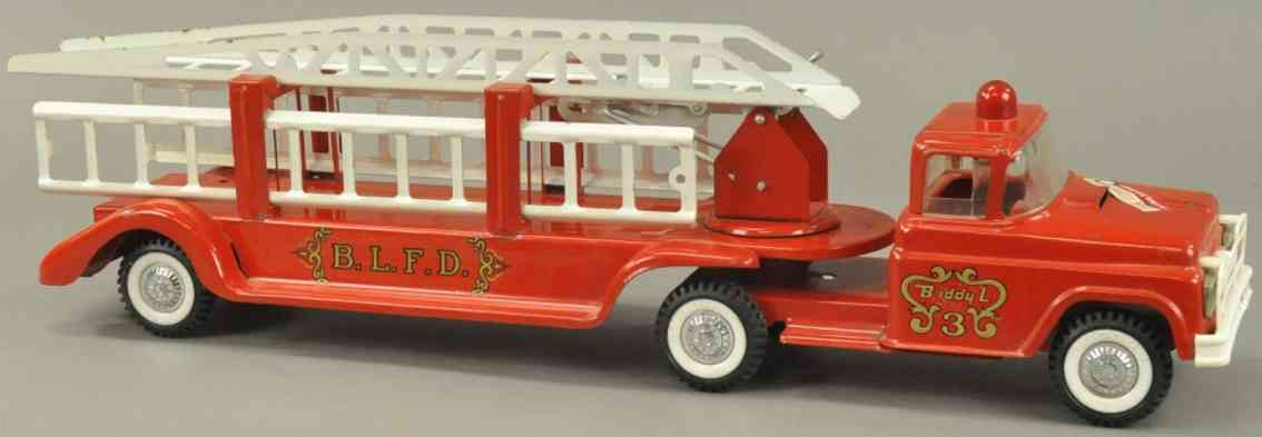 buddy l 3 tin toy fire engine extension ladder fire truck