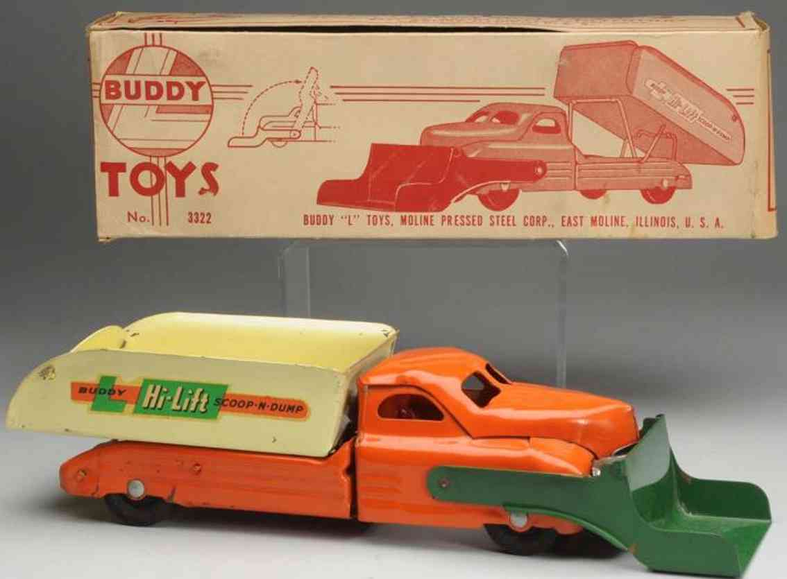 buddy l 3322 pressed steel toy hi-lift scoop-n-dump truck
