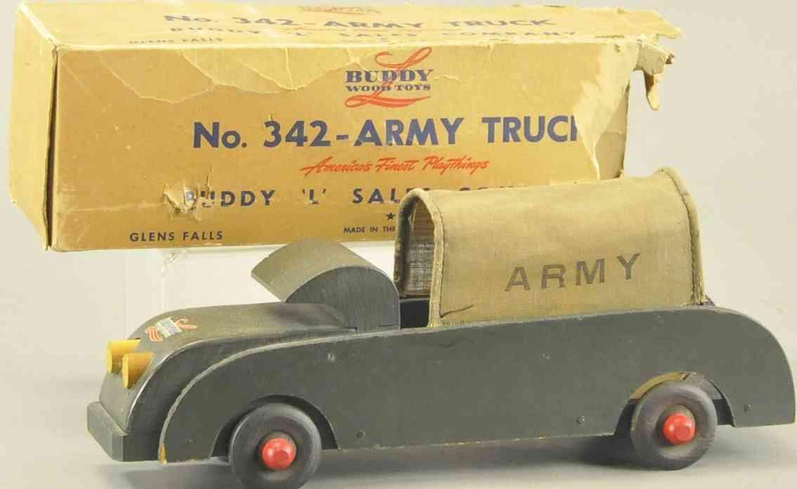 buddy l 342 holz spielzeug auto armeelastwagen segeltuchabdeckung