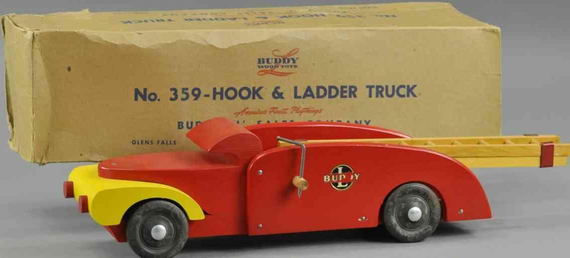buddy l 359 holz spielzeug feuerwehrwagen zwei leiter haken rot gelb