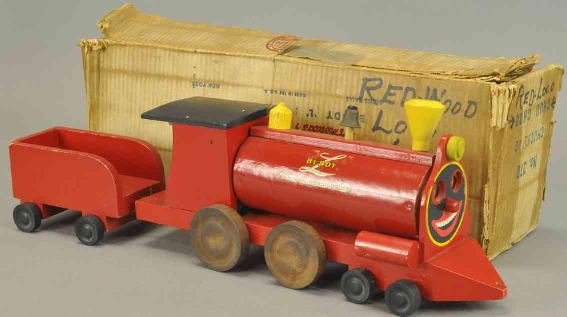 buddy l 370 holz spielzeug jauchenzender choo choo lokomotive tender rot