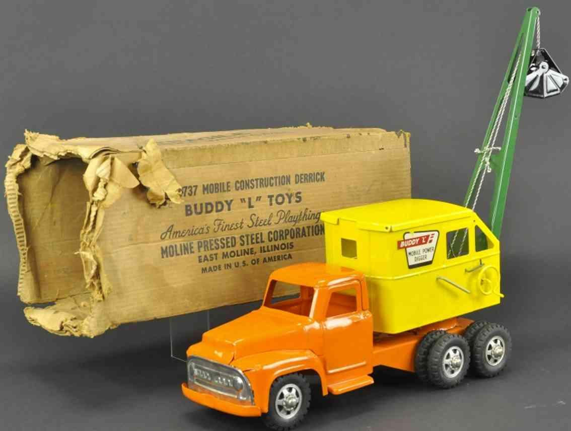 buddy l 3737 stahlblech spielzeug mobiler kranwagen orange gelb