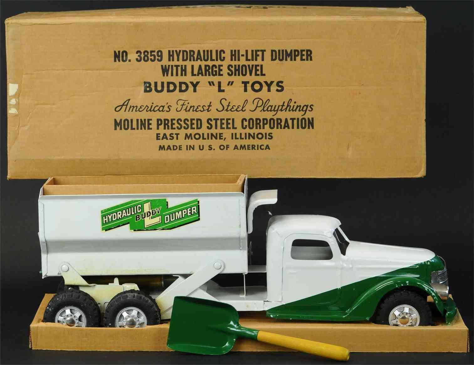 buddy l 3859 stahlblech spielzeug hydrauischer kipplastwagen gruen weiss