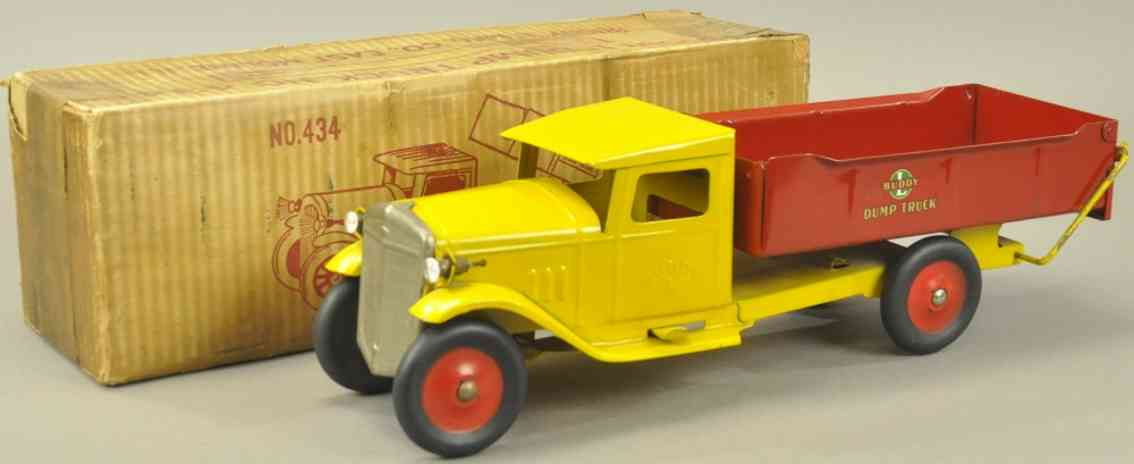 buddy l 434 pressed steel toy dump truck yellow red