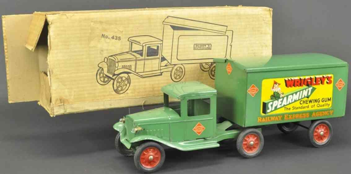 buddy l 435 blech spielzeug wrigley's lastwagen gruen