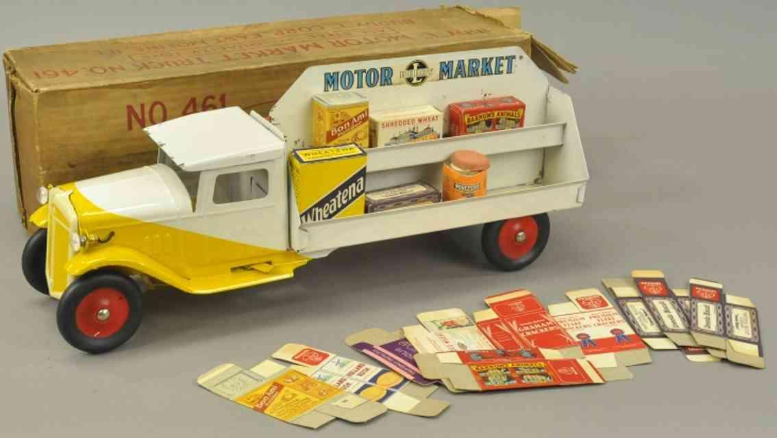 buddy l 461 stahlblech spielzeug verkaufswagen motor market gelb weiss