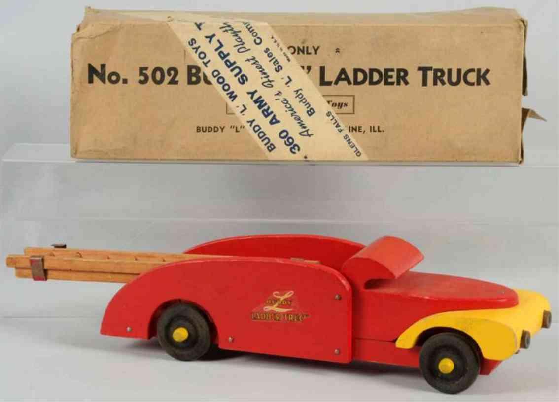 buddy l 502 holz spielzeug auto leiterwagen rot gelb