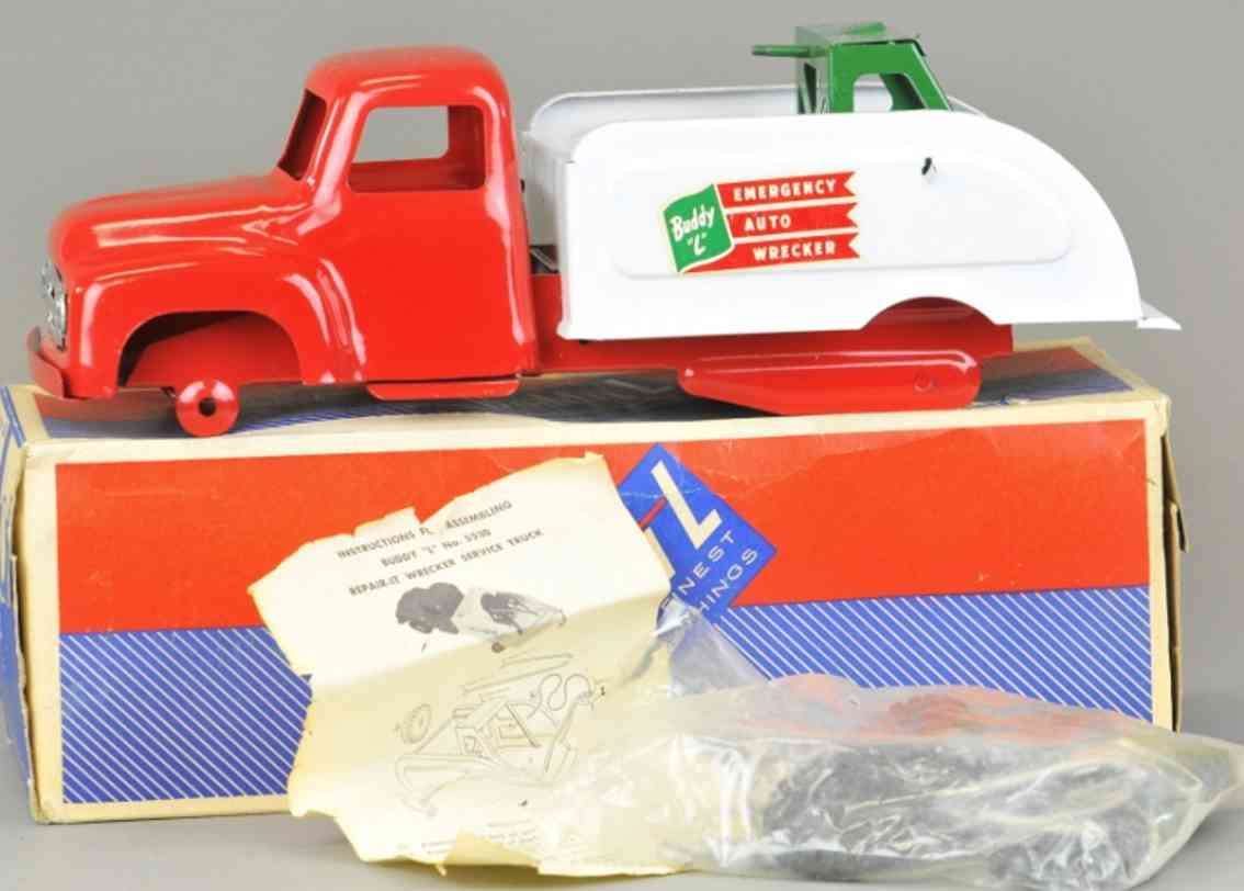 buddy l 5530 tin toy truck auto wrecker red white