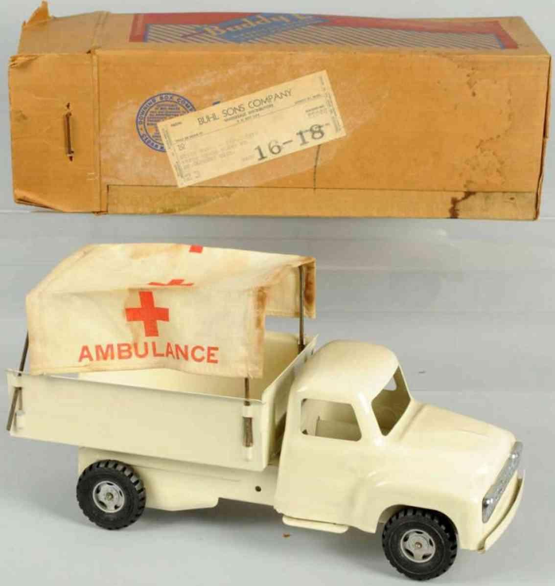 buddy l 5558 toy pressed steel ambulance car
