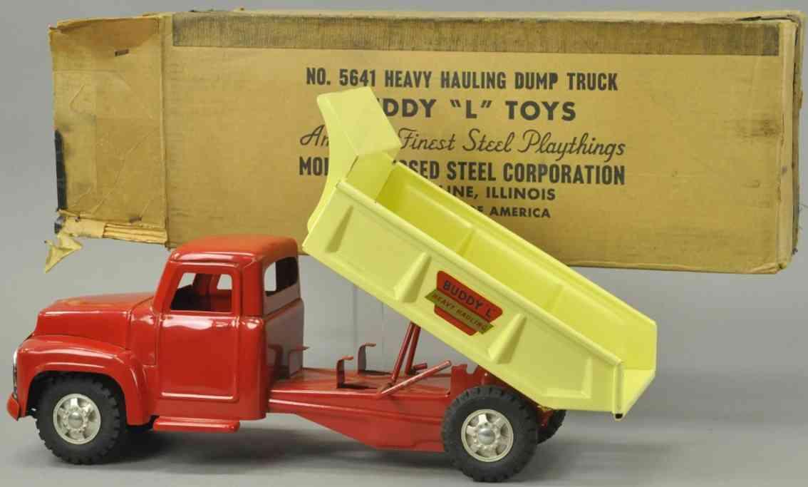 buddy l 5641 stahlblech spielzeug lastagen schwerer kipplastwagen  rot creme